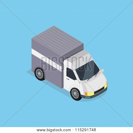 Isometric Delivery Car Icon