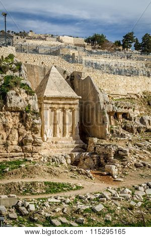 Kidron Valley or Kings Valley, Tomb of Zechariah near the Old City of Jerusalem