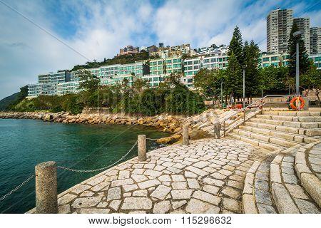 Pier And Rocky Coast At Repulse Bay, In Hong Kong, Hong Kong.
