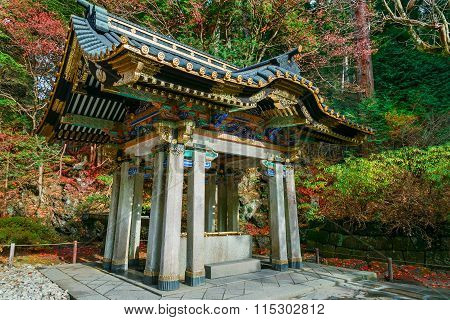 Chuzuya (or Temizuya) purification area at Taiyuinbyo - the Mausoleum of Shogun Tokugawa Iemitsu in Nikko, Japn poster