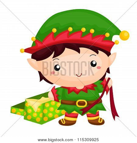 Little elf with an unwrap gift