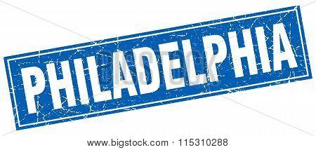 Philadelphia blue square grunge vintage isolated stamp