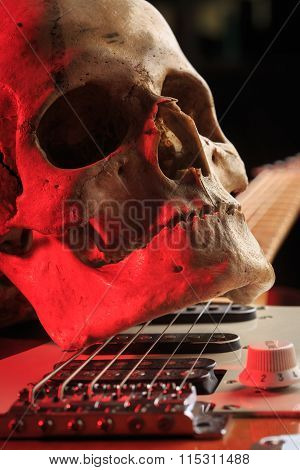 Still life with skull and electric guitar
