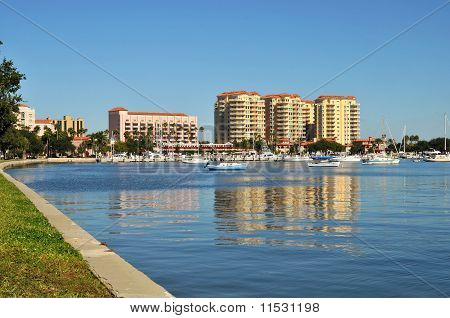 Waterfront buildings on the shore of an inlet