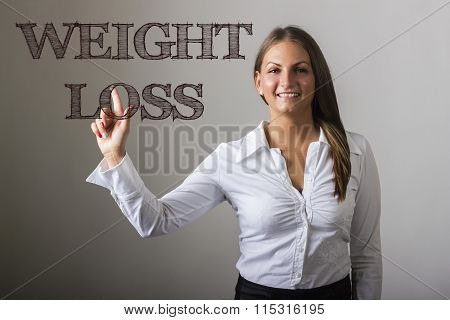 Weight Loss - Beautiful Girl Touching Text On Transparent Surface