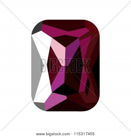 Vector illustration of violet stone alexandrite isolated over white background.