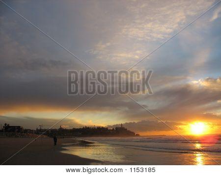 Jaffa Sunset Viewed From The Beach