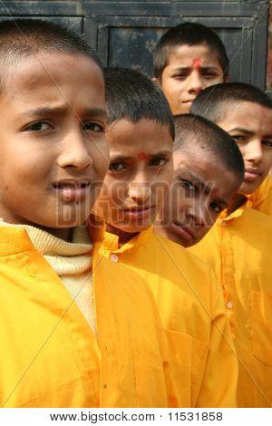 Cheerful Hindu Students Posing Outdoors.