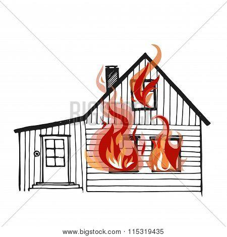 Burning house isolated on white bacground.