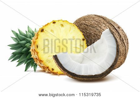 Pineapple Coconut Pieces Composition 1 Isolated On White Background