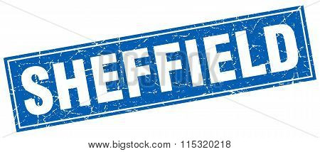 Sheffield blue square grunge vintage isolated stamp