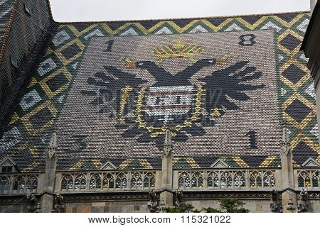 Mosaic of austrian eagles situated