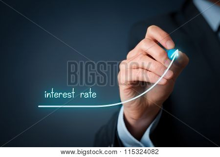Increase interest rate concept. Businessman draw line to increase interest rate. poster