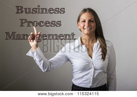 Business Process Management Bpm - Beautiful Girl Touching Text On Transparent Surface