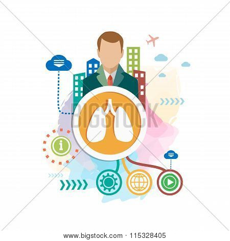 Lungs On Abstract Colorful Background With Different Icon And Elements.