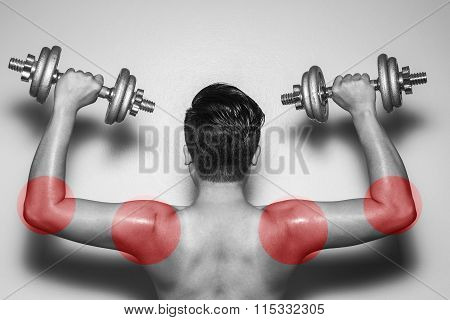 Bodybuilding,colored Circles But At Risk Muscle Strain.