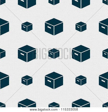 Packaging Cardboard Box Icon Sign. Seamless Pattern With Geometric Texture.