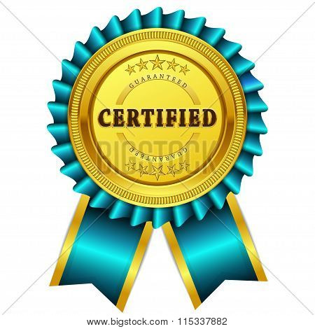 Certified Guaranteed Blue Seal Vector Icon