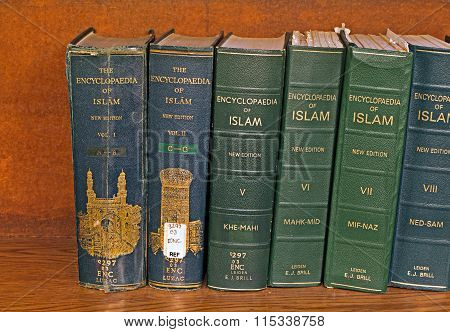 Liverpool Uk 16Th Jan 2016  Volume Of The Encyclopaedia Of Islam On A Library Shelf