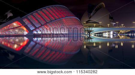 City Of The Arts And Sciences, La Ciutat De Les Arts I Les Ciències Is Lit Up At Night,  In Valencia