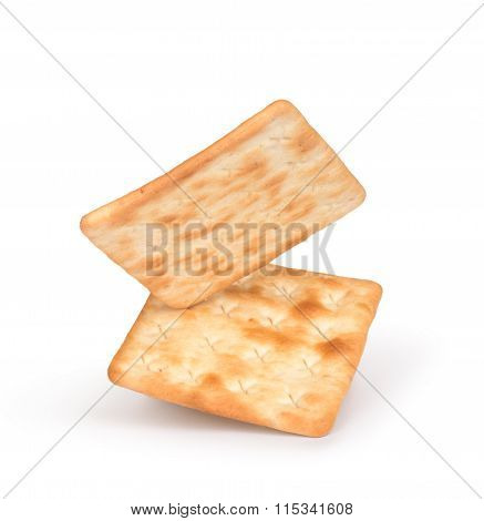 Falling Square Crackers Isolated On White Background