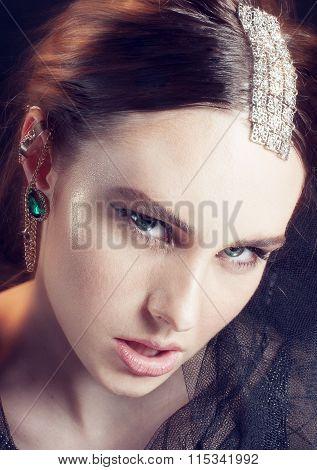 Fashion Elegant  Woman In Jewelry