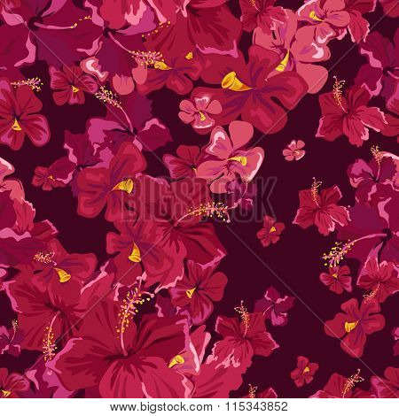 Floral seamless pattern background with hibiskus flower