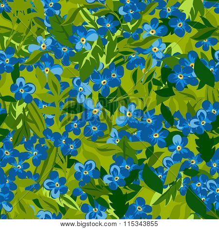 Floral seamless pattern background with forgot me not flower