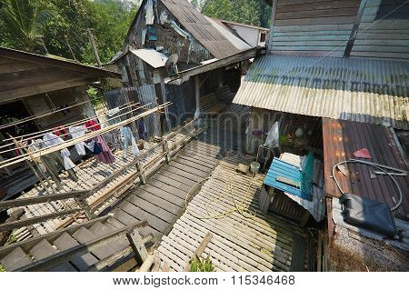 View to the street of the Kupo Saba longhouse at Annah Rais Bidayuh village in Kuching, Malaysia.
