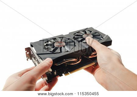 graphic video card in hands, isolated on white