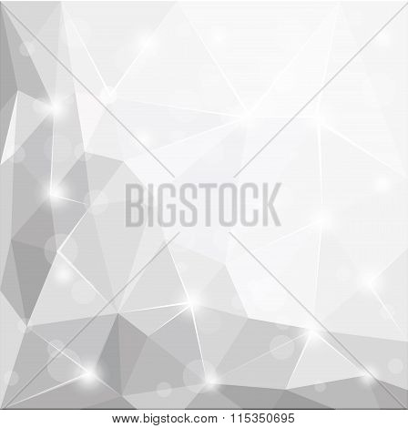 Abstract Polygonal Geometric Facet Shiny White, Grey And Silver Background Wallpaper