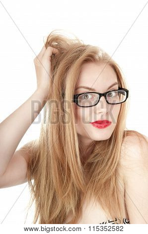 Portrait Of Beautiful Embarrassed  Girl In Glasses, Isolated On White Background.