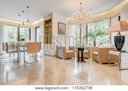 Glossy Sitting And Dinning Room