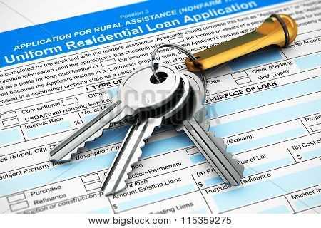 Bunch of house keys on mortgage or loan application form