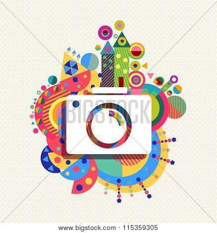 Photo Camera Icon Vibrant Colors Illustration