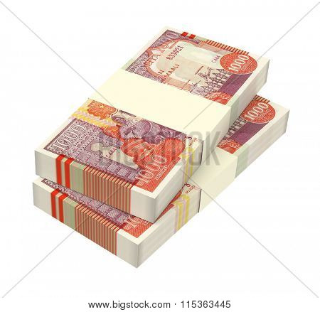 Somalian shilings bills isolated on white background. Computer generated 3D photo rendering.