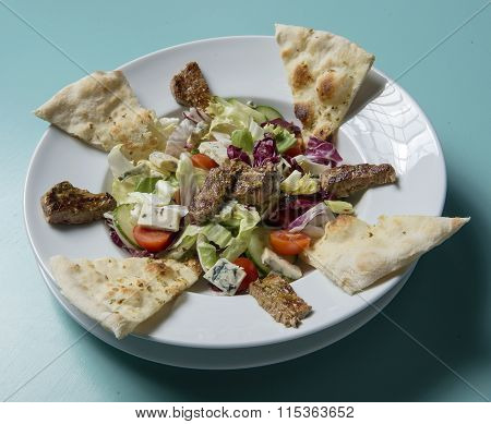 beef salad with bleu fromage and focaccia