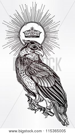 Detailed hand drawn bird of prey with a crown.