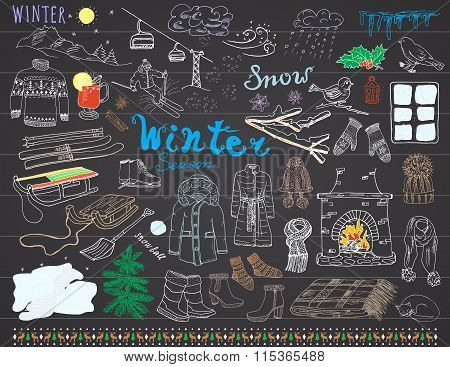 Winter Season Set Doodles Elements. Hand Drawn Set With Glass Hot Wine, Boots, Clothes, Fireplace, M