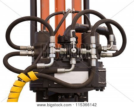 Hydraulic tubes, fittings and levers on control panel of lifting