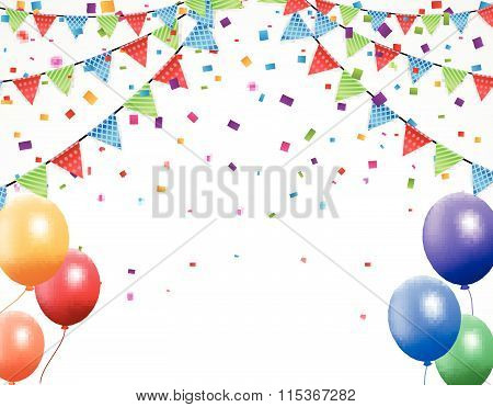 Birthday background with bunting and confetti