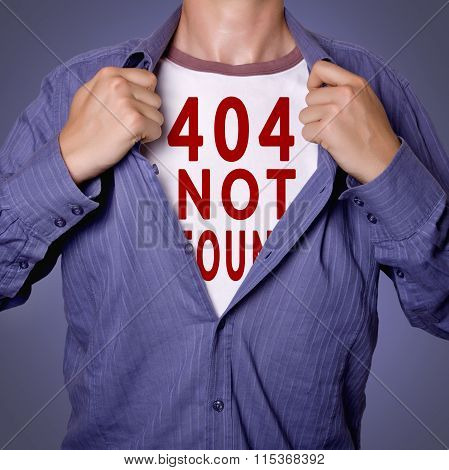 Man Open Shirt Showing 404 Error Page Not Found Tittle