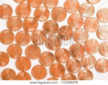 Pennies coins 1 cent currency of the United States vintage poster