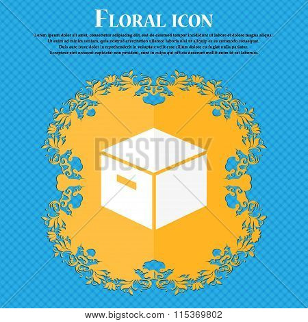 Packaging Cardboard Box Icon. Floral Flat Design On A Blue Abstract Background With Place For Your
