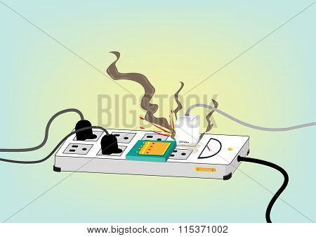 Electrical Safety Standard Concept. Exploding Electric Cord. Editable Clip Art.