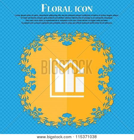 Histogram Icon. Floral Flat Design On A Blue Abstract Background With Place For Your Text.