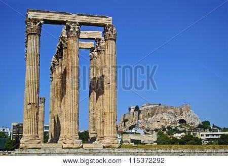 Acropolis behind the temple of Olympian Zeus Greece