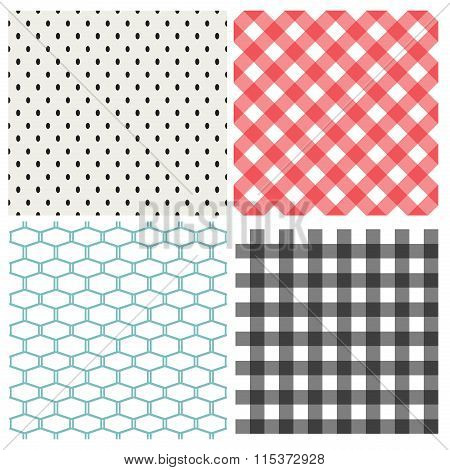 Set Of Classic Seamless Pattern, Vector