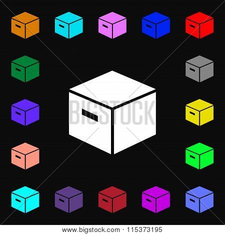 Packaging Cardboard Box Icon Sign. Lots Of Colorful Symbols For Your Design.