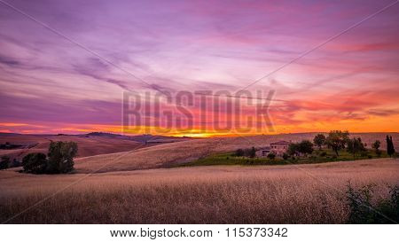 Amazing Sunset In Tuscany